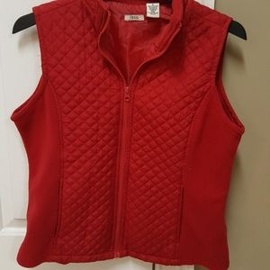 Izod red quilted zip up vest.